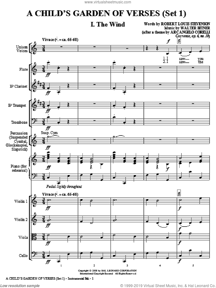 A Child's Garden of Verses (Set I) (COMPLETE) sheet music for orchestra/band by Walter Bitner and Robert Louis Stevenson, intermediate skill level