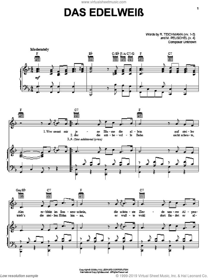 Das Edelweiss sheet music for voice, piano or guitar by R. Teichmann and M. Peuschel, intermediate skill level