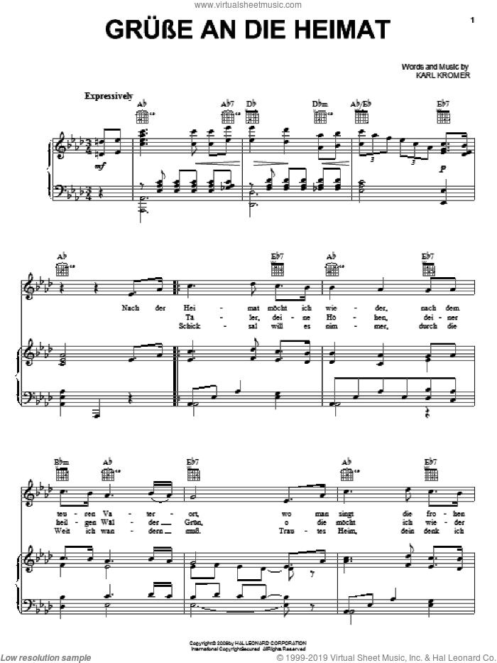 Grusse An Die Heimat (Hail, My Homeland) sheet music for voice, piano or guitar by Karl Kromer, intermediate skill level