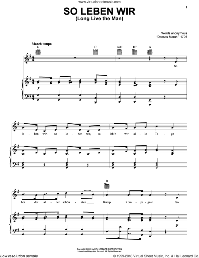 So Leben Wir (Long Live The Man) sheet music for voice, piano or guitar  and Anonymous, intermediate skill level