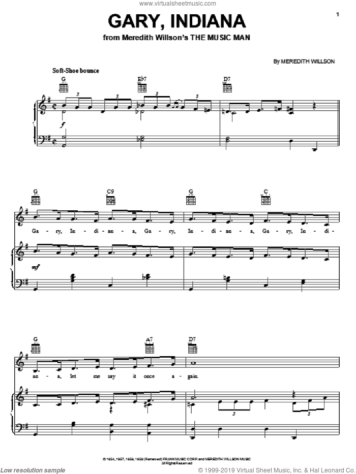 Gary, Indiana sheet music for voice, piano or guitar by Meredith Willson and The Music Man (Musical), intermediate skill level