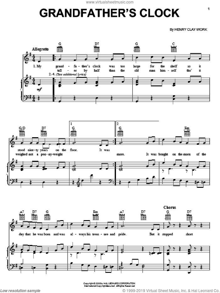 Grandfather's Clock sheet music for voice, piano or guitar by Henry Clay Work, intermediate skill level
