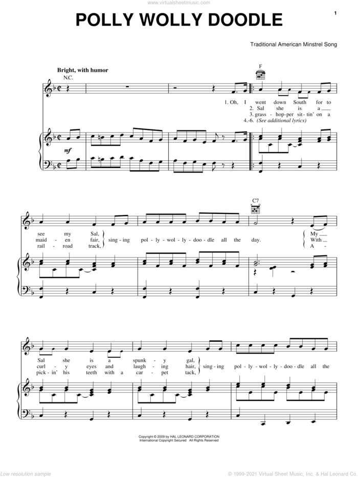 Polly Wolly Doodle sheet music for voice, piano or guitar, intermediate skill level