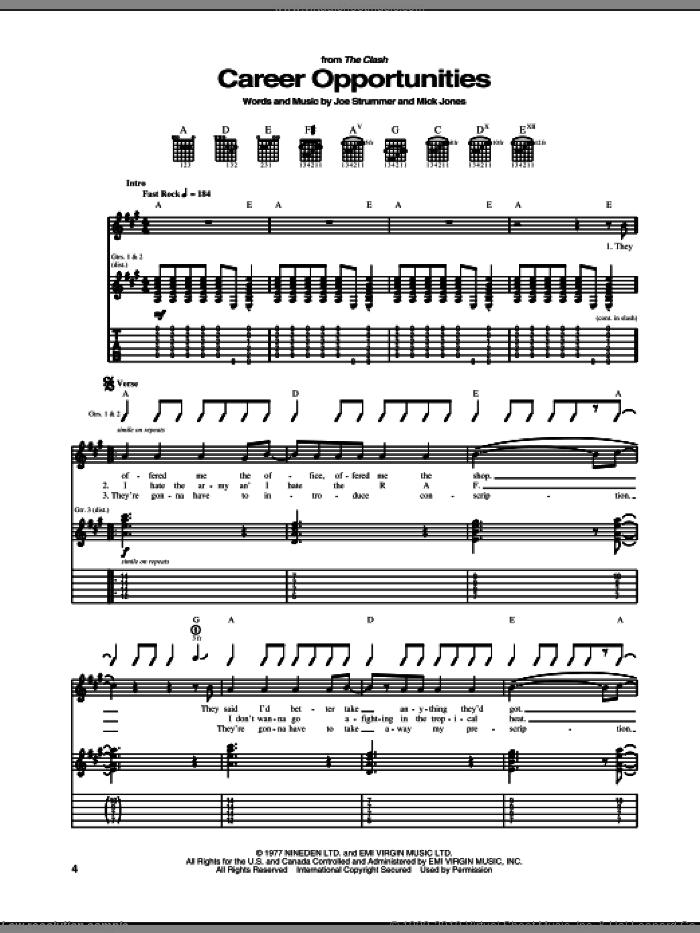 Career Opportunities sheet music for guitar (tablature) by The Clash, Joe Strummer and Mick Jones, intermediate skill level
