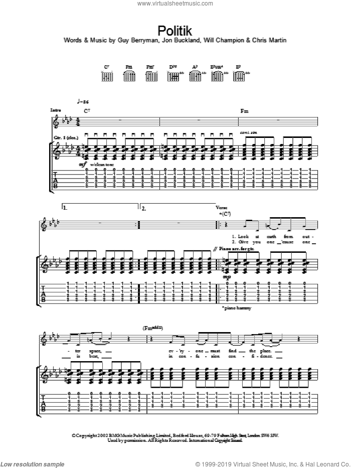 Politik sheet music for guitar (tablature) by Coldplay, intermediate skill level