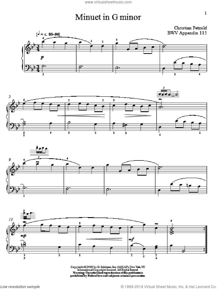 Menuet In G Minor, BWV App. 115 sheet music for piano solo by Johann Sebastian Bach and Christos Tsitsaros, classical score, intermediate skill level