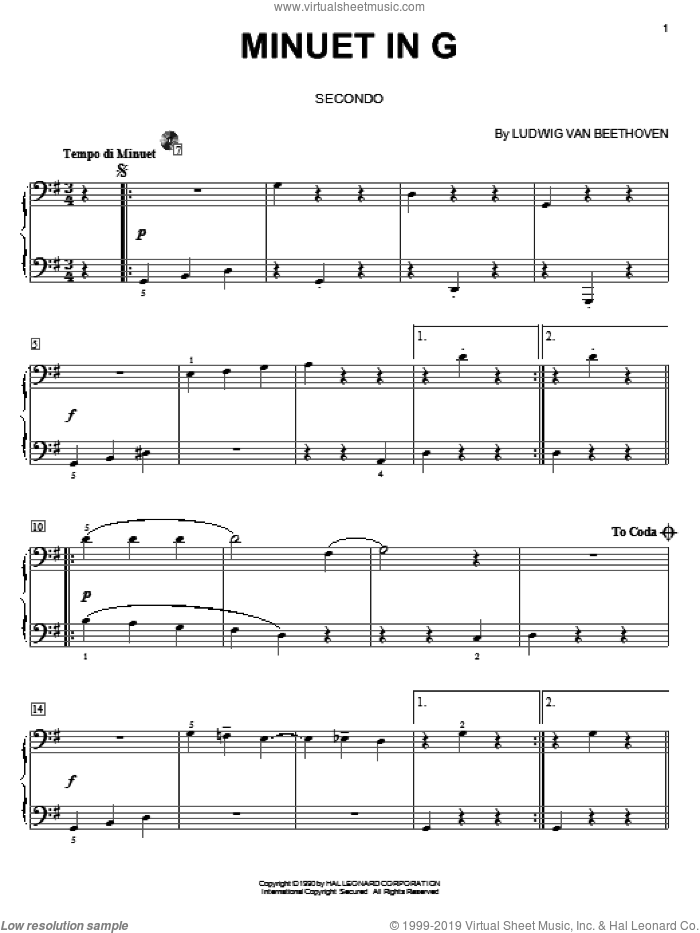 Minuet In G Major sheet music for piano four hands by Ludwig van Beethoven, classical score, intermediate skill level