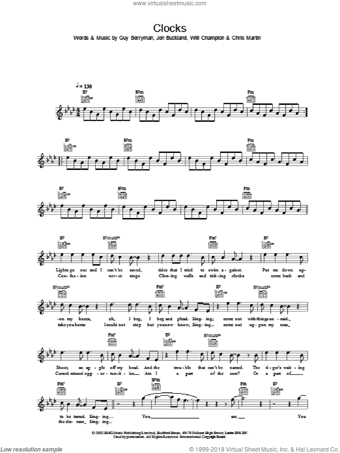 Clocks sheet music for voice and other instruments (fake book) by Coldplay, intermediate skill level