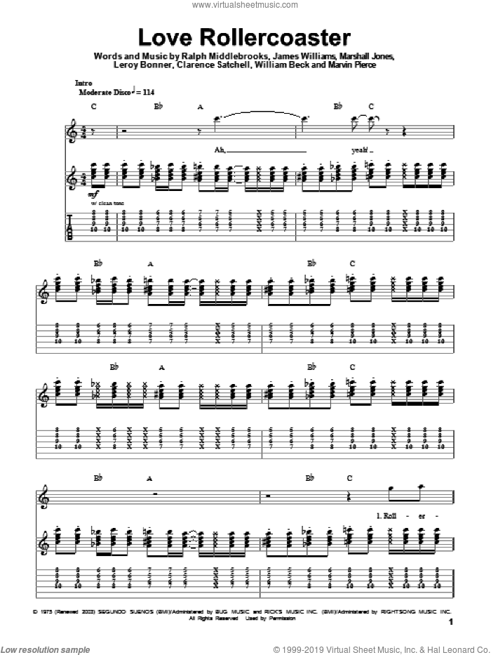 Love Rollercoaster sheet music for guitar (tablature, play-along) by Ohio Players, Red Hot Chili Peppers, Clarence Satchell, James L. Williams, Leroy Bonner, Marshall Jones, Marvin R. Pierce, Ralph Middlebrooks and Willie Beck, intermediate skill level