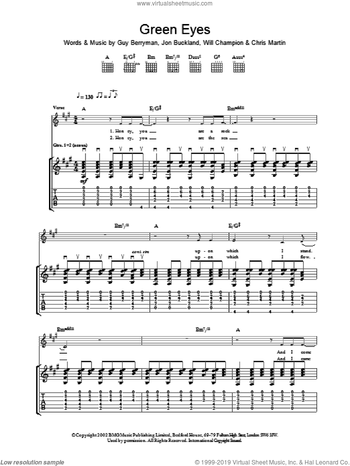 Green Eyes sheet music for guitar (tablature) by Coldplay, intermediate skill level