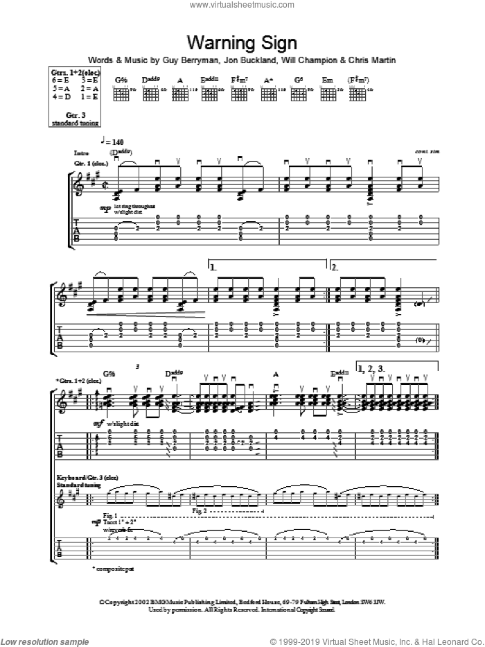 Warning Sign sheet music for guitar (tablature) by Coldplay, intermediate skill level