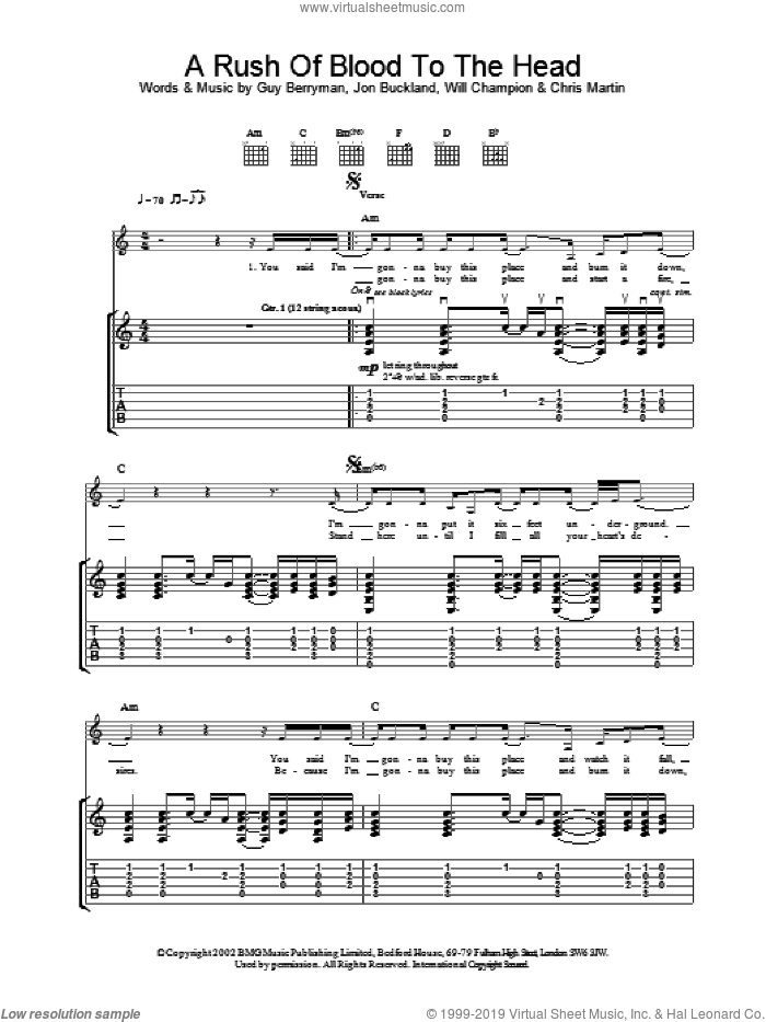 A Rush Of Blood To The Head sheet music for guitar (tablature) by Coldplay, intermediate skill level