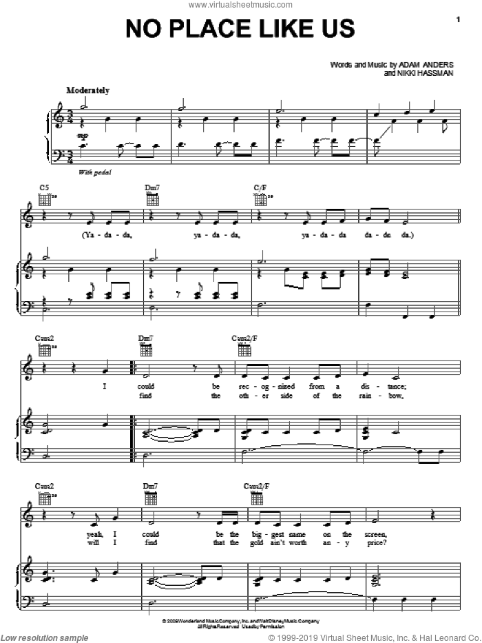 No Place Like Us sheet music for voice, piano or guitar by The Cheetah Girls, Adam Anders and Nikki Hassman, intermediate skill level