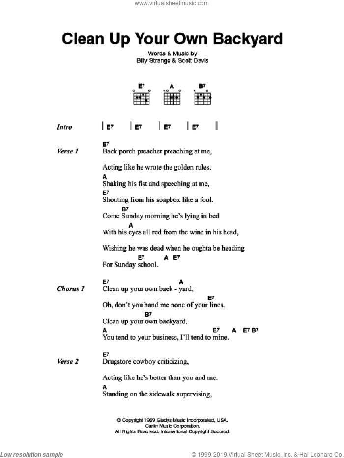 Clean Up Your Own Backyard sheet music for guitar (chords) by Elvis Presley, Billy Strange and Scott Davis, intermediate skill level