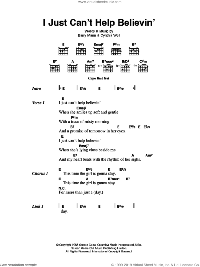 I Just Can't Help Believin' sheet music for guitar (chords) by Elvis Presley, Barry Mann and Cynthia Weil, intermediate skill level