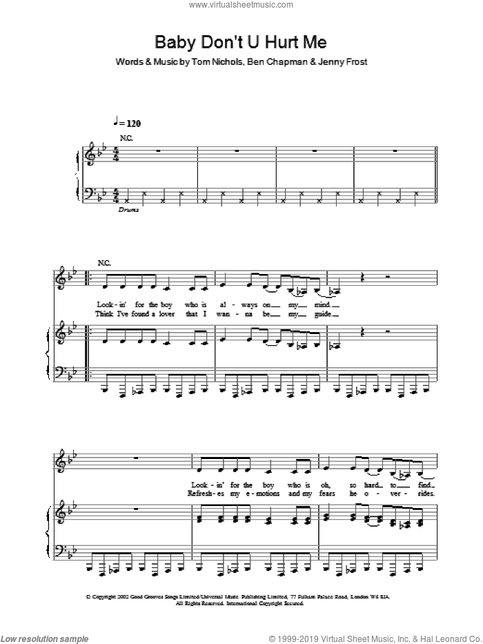 Baby Don't U Hurt Me sheet music for voice, piano or guitar by Atomic Kitten, intermediate skill level
