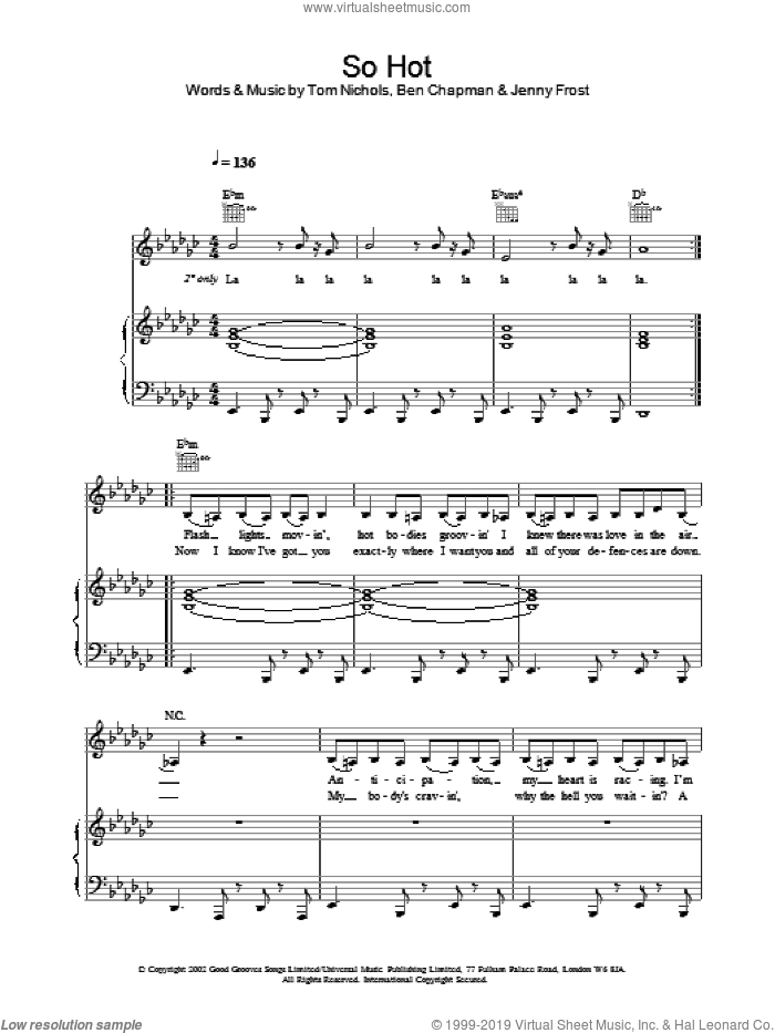 So Hot sheet music for voice, piano or guitar by Atomic Kitten, intermediate skill level
