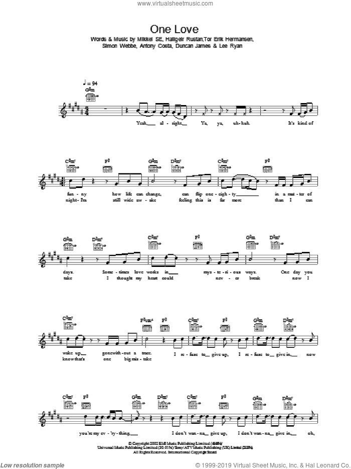 One Love sheet music for voice and other instruments (fake book), intermediate skill level