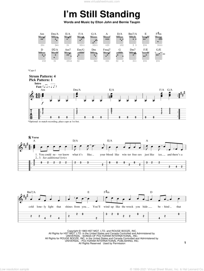 I'm Still Standing sheet music for guitar solo (easy tablature) by Elton John and Bernie Taupin, easy guitar (easy tablature)