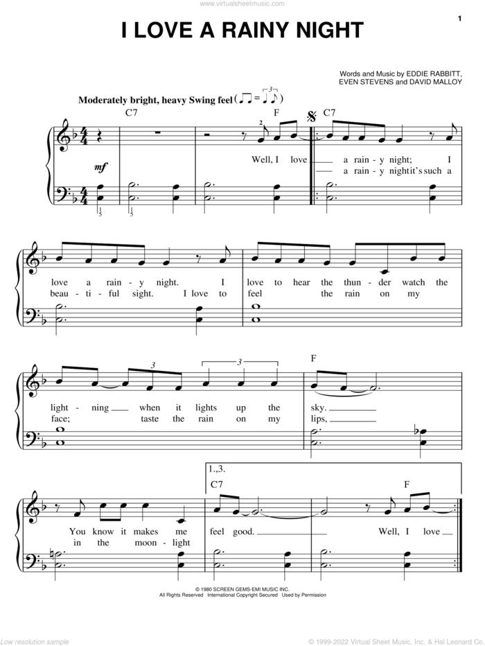 I Love A Rainy Night sheet music for piano solo by Eddie Rabbitt, David Malloy and Even Stevens, easy skill level