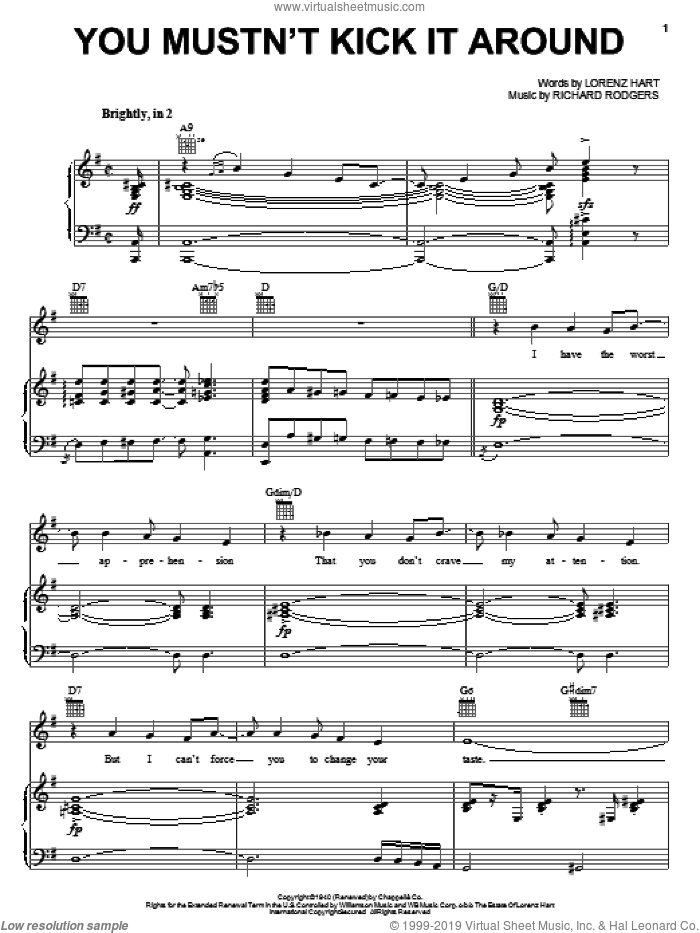 You Mustn't Kick It Around sheet music for voice, piano or guitar by Rodgers & Hart, Pal Joey (Musical), Lorenz Hart and Richard Rodgers, intermediate skill level
