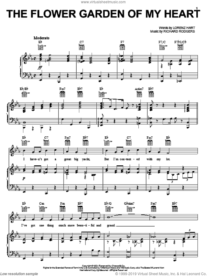 The Flower Garden Of My Heart sheet music for voice, piano or guitar by Rodgers & Hart, Pal Joey (Musical), Lorenz Hart and Richard Rodgers, intermediate skill level