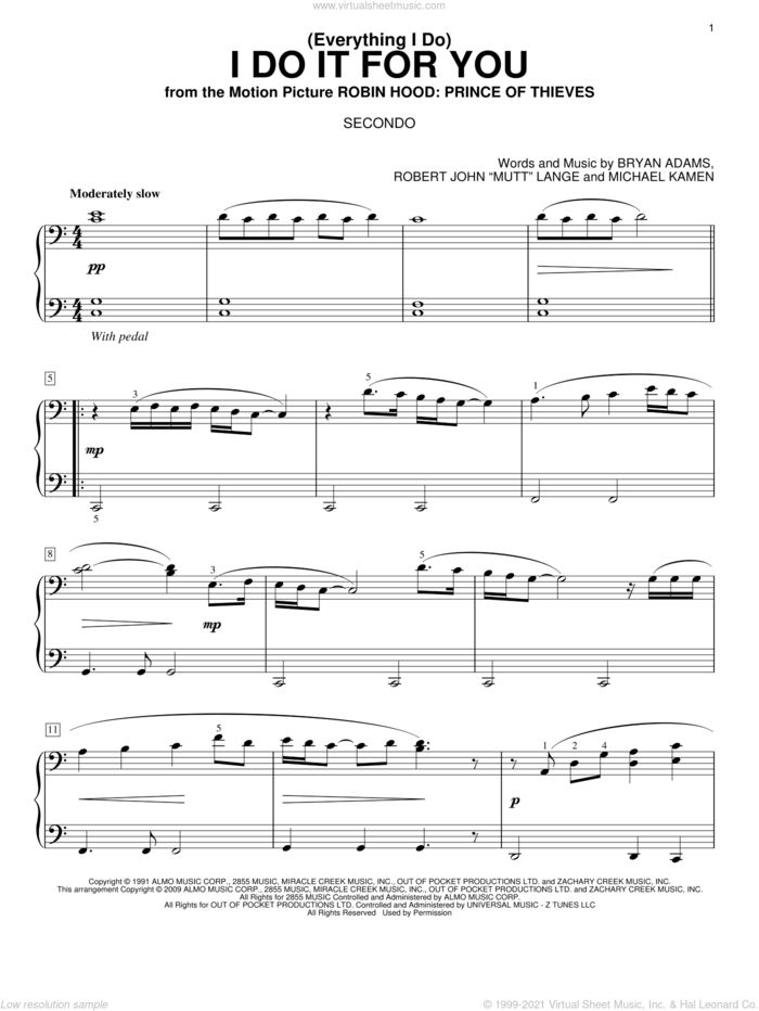 (Everything I Do) I Do It For You sheet music for piano four hands by Bryan Adams, Michael Kamen and Robert John Lange, intermediate skill level