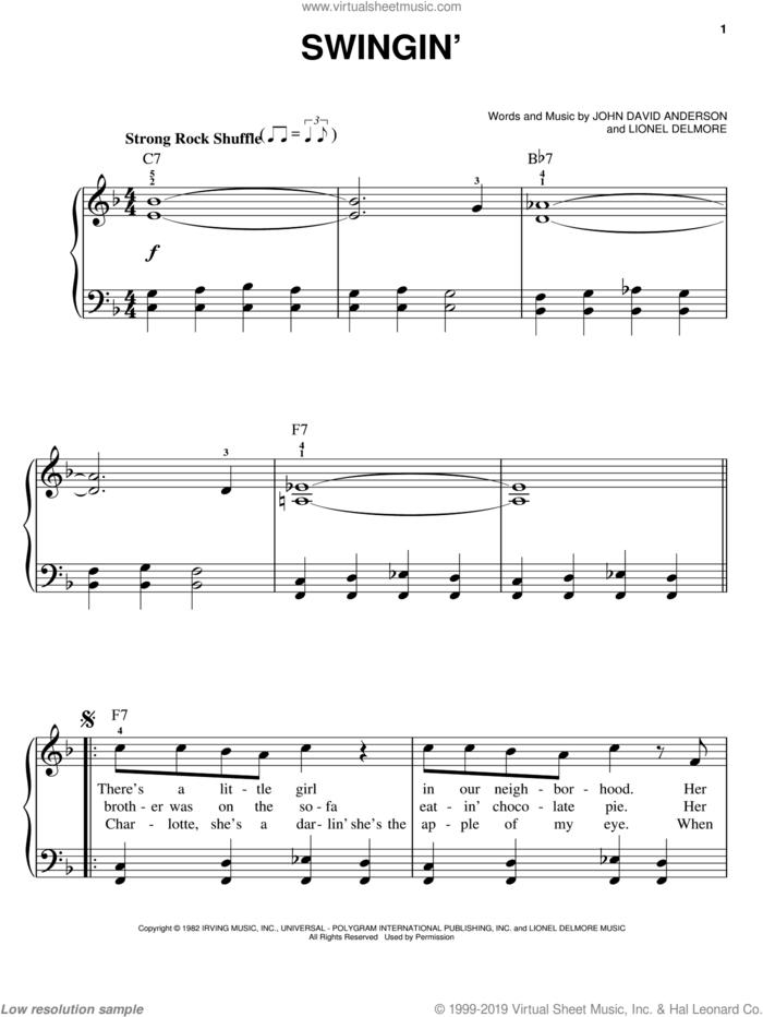 Swingin' sheet music for piano solo by John Anderson, John David Anderson and Lionel Delmore, easy skill level