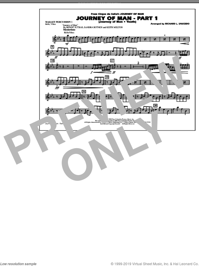 Journey of Man, part 1 (journey of man: youth) sheet music for marching band (mallet percussion 1) by Richard L. Saucedo, Benoit Jutras, Keith Melton and Sandra Botnen, intermediate skill level