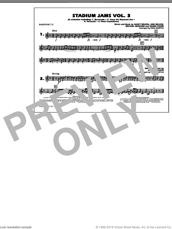 Stadium Jams, volume 3 sheet music for marching band (baritone t.c.) by Paul Murtha, intermediate skill level