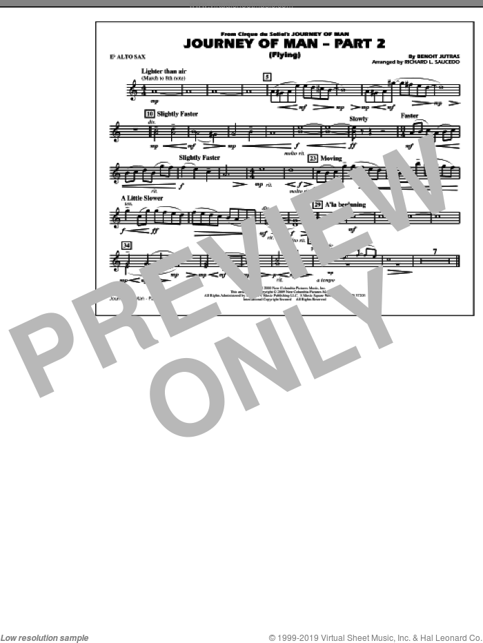 Journey of Man, part 2 (flying) sheet music for marching band (Eb alto sax) by Richard L. Saucedo and Benoit Jutras, intermediate skill level