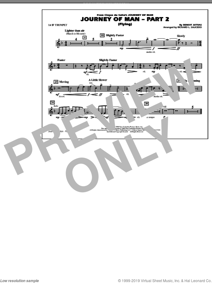 Journey of Man, part 2 (flying) sheet music for marching band (1st Bb trumpet) by Richard L. Saucedo and Benoit Jutras, intermediate skill level