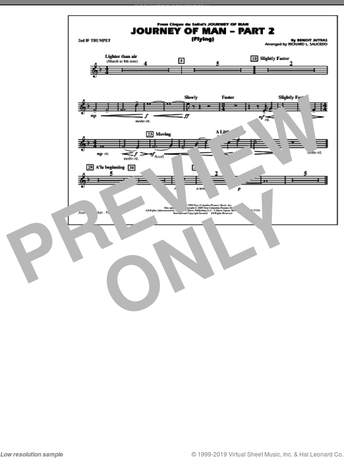 Journey of Man, part 2 (flying) sheet music for marching band (2nd Bb trumpet) by Richard L. Saucedo and Benoit Jutras, intermediate skill level