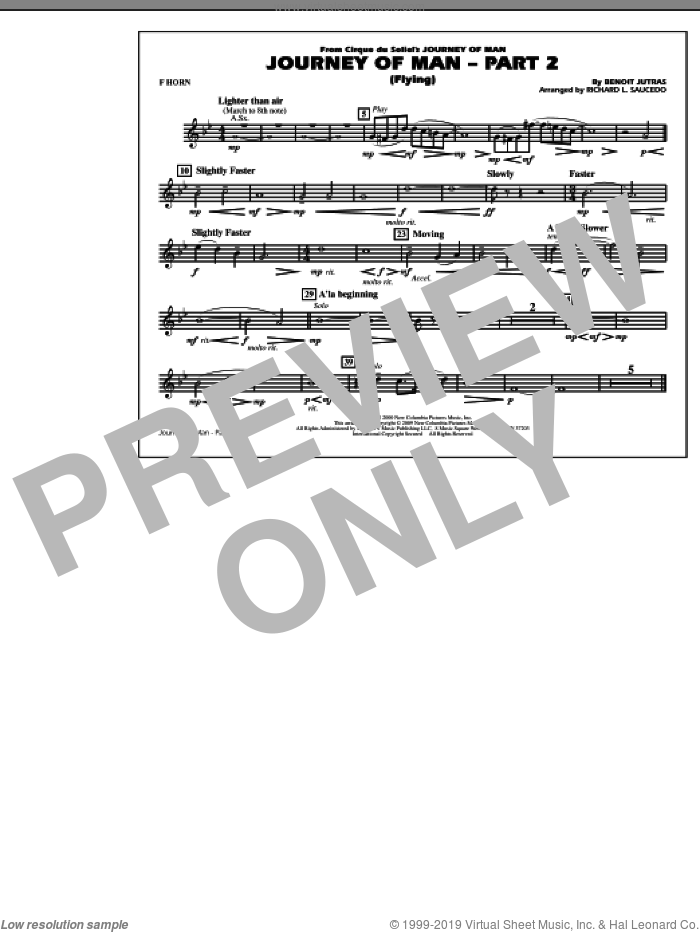 Journey of Man, part 2 (flying) sheet music for marching band (f horn) by Richard L. Saucedo and Benoit Jutras, intermediate skill level