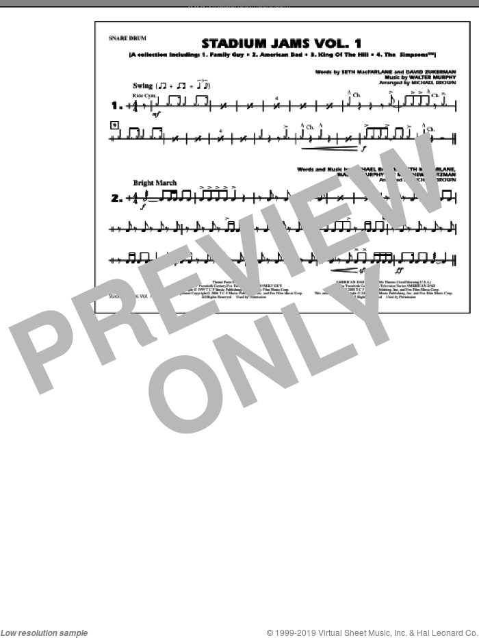 Stadium Jams, vol. 1 sheet music for marching band (snare drum) by Michael Brown, intermediate skill level