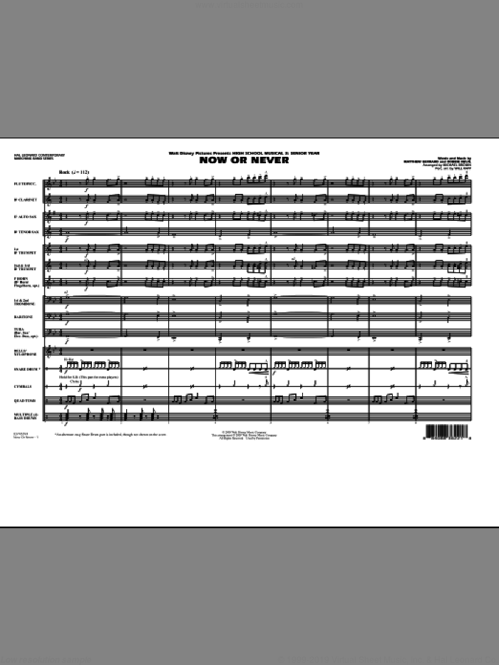 Now or Never (from 'High School Musical 3') (COMPLETE) sheet music for marching band by Michael Brown, Matthew Gerrard, Robbie Nevil and Will Rapp, intermediate skill level