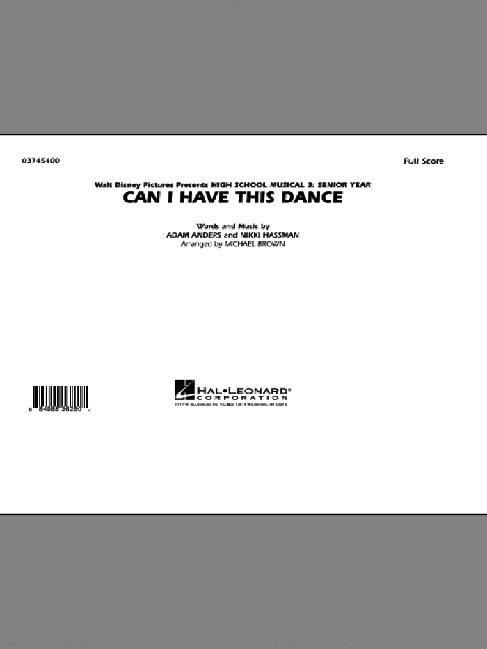 Can I Have This Dance (from 'High School Musical 3') (COMPLETE) sheet music for marching band by Michael Brown, Adam Anders and Nikki Hassman, intermediate skill level