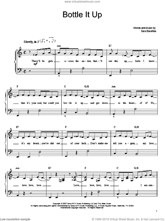 Bottle It Up sheet music for piano solo by Sara Bareilles, easy skill level