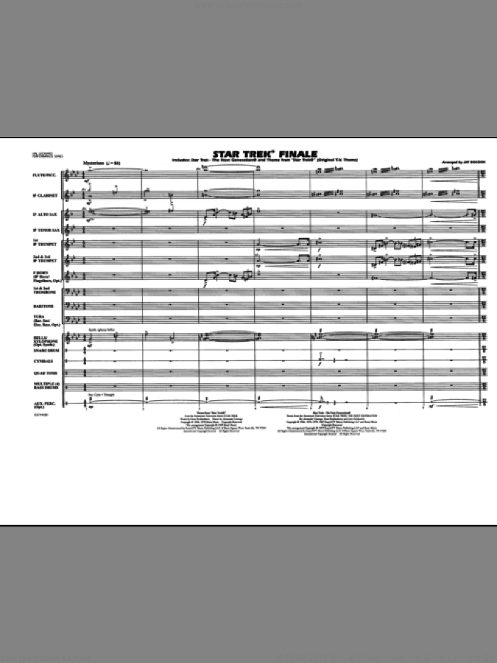 Star Trek Finale (COMPLETE) sheet music for marching band by Jay Bocook, intermediate skill level