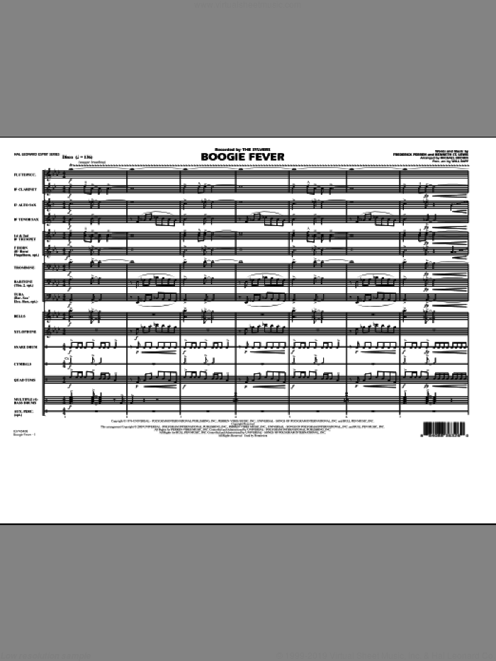 Boogie Fever (COMPLETE) sheet music for marching band by Michael Brown, Frederick Perren, Kenneth St. Lewis and Will Rapp, intermediate skill level