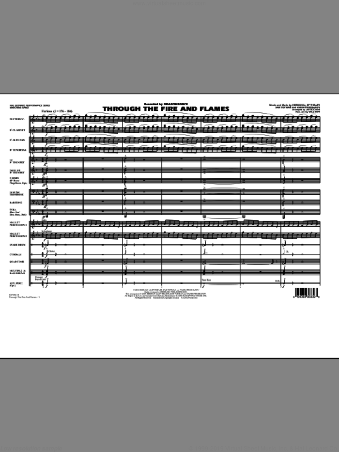 Through the Fire and Flames (COMPLETE) sheet music for marching band by Jay Bocook, Dragonforce, Herman Li, Sam Totman, Vadim Pruzhanov, Will Rapp and ZP Theart, intermediate skill level
