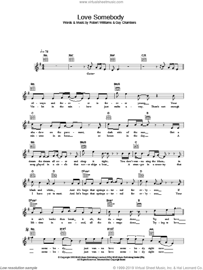 Love Somebody sheet music for voice and other instruments (fake book) by Robbie Williams, intermediate skill level