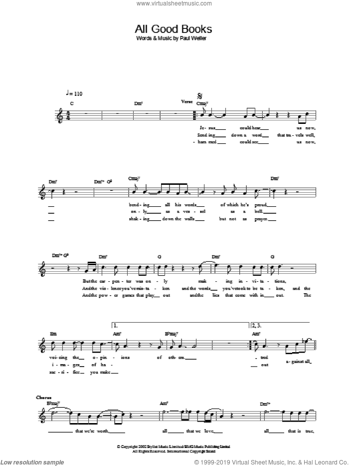 All Good Books sheet music for voice and other instruments (fake book) by Paul Weller, intermediate skill level
