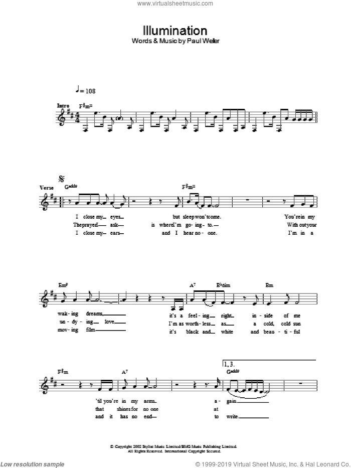 Illumination sheet music for voice and other instruments (fake book) by Paul Weller, intermediate skill level