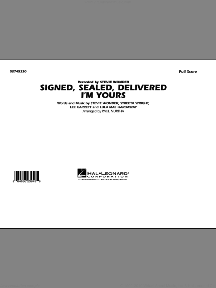 Signed, Sealed, Delivered I'm Yours (COMPLETE) sheet music for marching band by Paul Murtha and Stevie Wonder, intermediate skill level