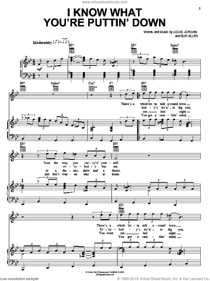 I Know What You're Puttin' Down sheet music for voice, piano or guitar by Louis Jordan and Bud Allen, intermediate skill level