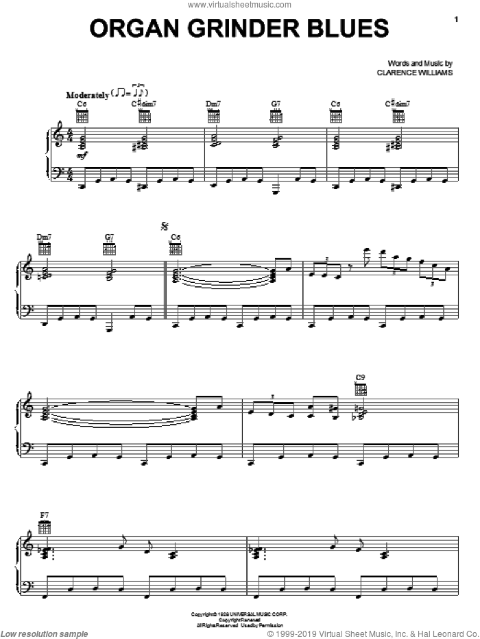 Organ Grinder Blues sheet music for voice, piano or guitar by Clarence Williams, intermediate skill level