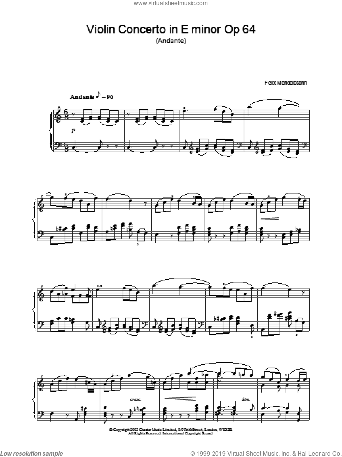 Violin Concerto in E minor Op 64 sheet music for piano solo by Felix Mendelssohn-Bartholdy, classical score, intermediate skill level