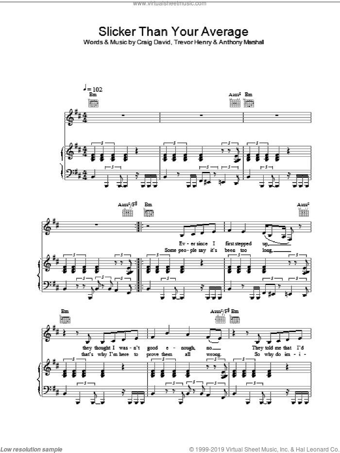 Slicker Than Your Average sheet music for voice, piano or guitar by Craig David, intermediate skill level