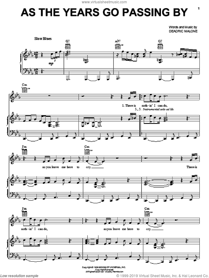 As The Years Go Passing By sheet music for voice, piano or guitar by Deadric Malone, intermediate skill level